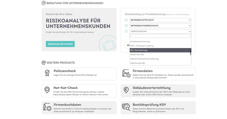 Dashboard mit ausgewählten Produkten